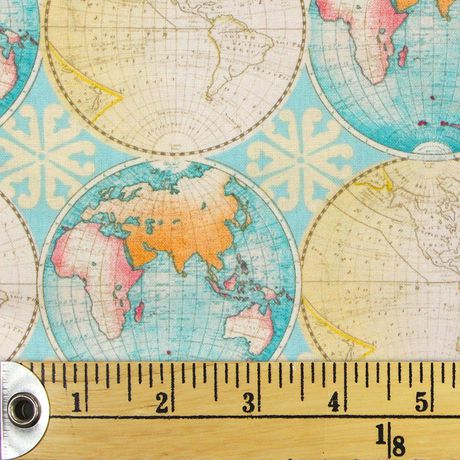 Fabric Creations Sea Foam And Multicolour Vintage Globes Cotton Fabric by The Metre - image 1 of 1