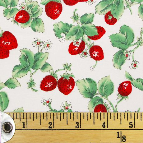 Fabric Creations Cotton off White Strawberries with Leaves Fabric by The Metre - image 1 of 1