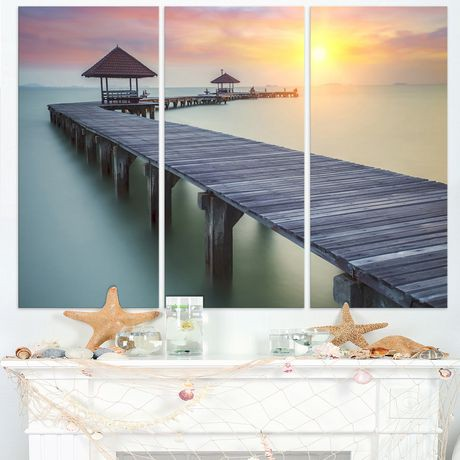 tableau sur toile imprim e design art photographie bord de mer pont en bois de la mer et coucher. Black Bedroom Furniture Sets. Home Design Ideas