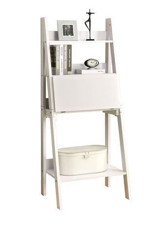 "Monarch White 61""H Ladder Bookcase With A Drop Down Desk"