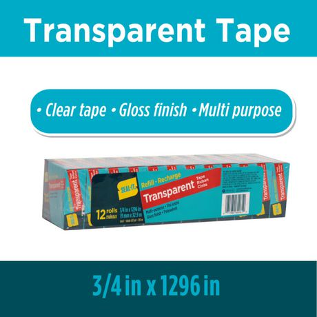 Seal-It Transparent Stationery Tape Refill Rolls 3/4 x 1296 Inches, Value Pack of 12, 15,552 Inches Total - image 5 of 5