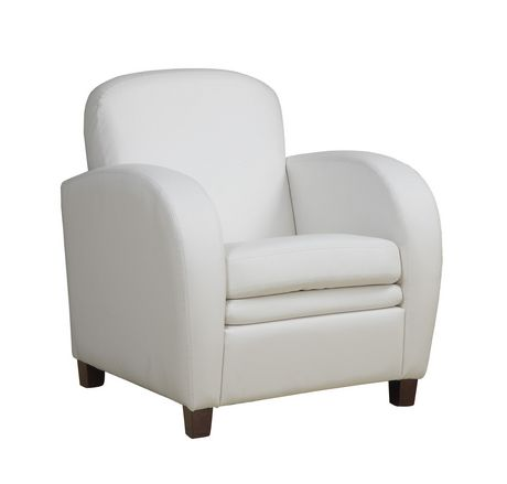 Monarch Specialties White Faux Leather Accent Chair