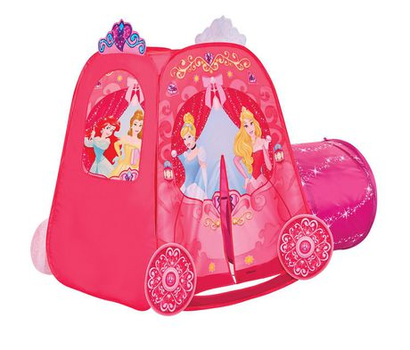 Pink kid's tent and tunnel with Disney characters like Snow White, the Little Mermaid and Sleeping Beauty on them