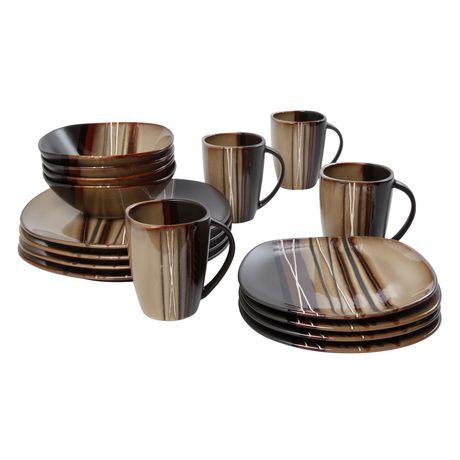 hometrends 16 Piece Bazaar Brown Dinnerware Set | Walmart Canada