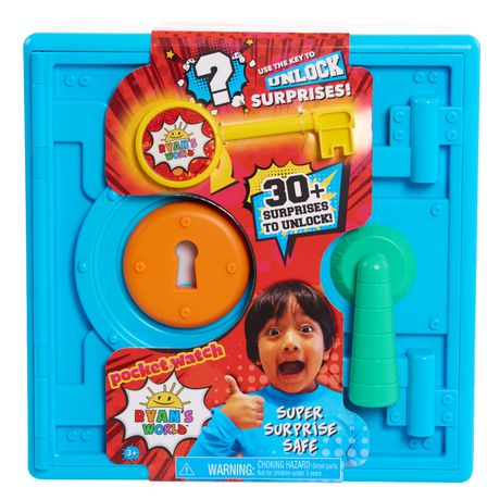 Blue plastic toy safe from Ryan's World with packaging showing smiling brown-haired boy giving thumb's up