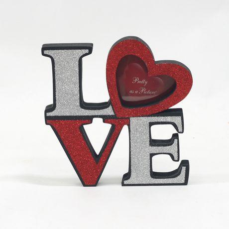 cadre photo scintillant en forme de coeur en bois pour la saint valentin 8 po. Black Bedroom Furniture Sets. Home Design Ideas