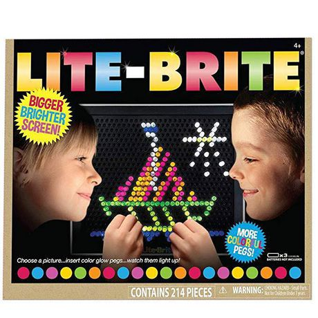 Box from Lite-Brite with two smiling kids on the cover looking at their design
