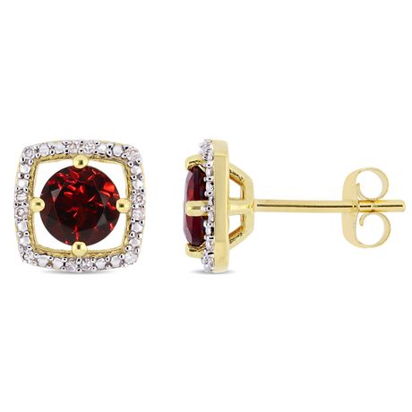 Tangelo 1-1/5 Carat T.G.W. Garnet and Diamond-Accent 10K Yellow Gold Halo Stud Earrings - image 1 of 4