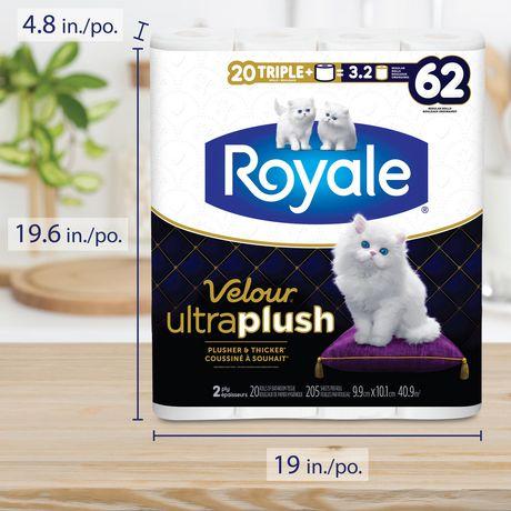 Royale Velour Ultra Plush Toilet Paper, 20 Triple plus equal 62 rolls - image 8 of 9