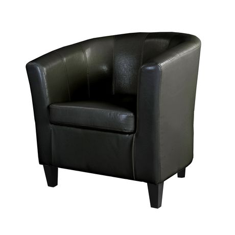CorLiving Antonio Black Bonded Leather Tub Chair
