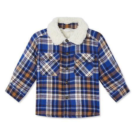 Blue and brown plaid shirt with sherpa lined collar