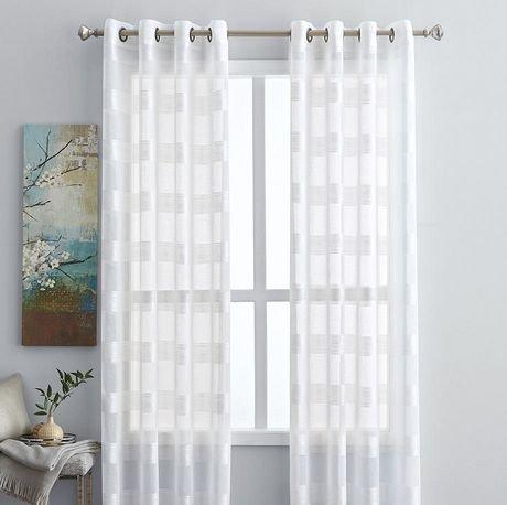 Panneau de fen tre hometrends blanc transparent rayures for Panneau de fenetre