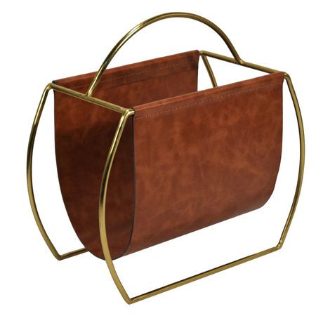 Hometrends leather and gold finish magazine rack walmart for Trendy magazine rack