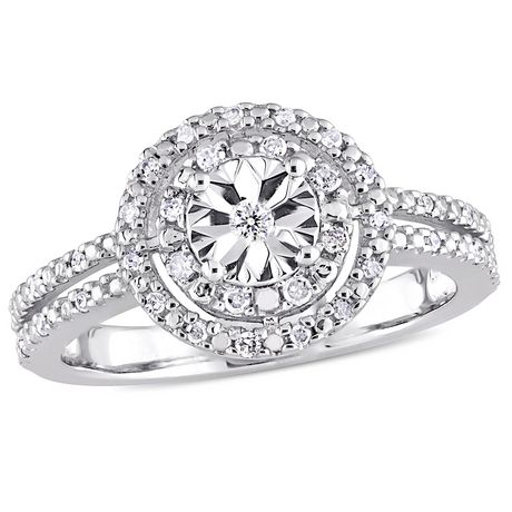 Miabella 1/5 Carat T.W. Diamond Sterling Silver Double Halo Engagement Ring - image 1 of 5