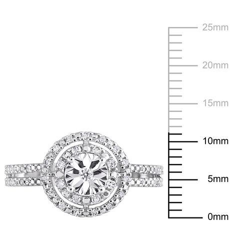 Miabella 1/5 Carat T.W. Diamond Sterling Silver Double Halo Engagement Ring - image 3 of 5