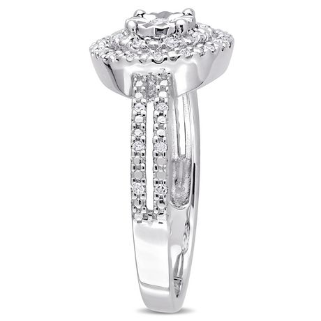 Miabella 1/5 Carat T.W. Diamond Sterling Silver Double Halo Engagement Ring - image 2 of 5