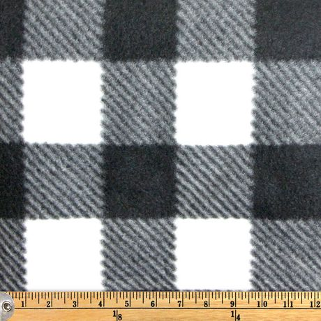Fabric Creations Fleece Black And White Buffalo Plaid Fabric By The