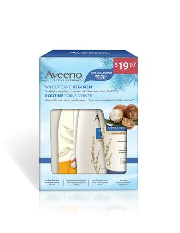 Boxed holiday gift set from Aveeno containing body lotion, body wash, hand cream and hand mask