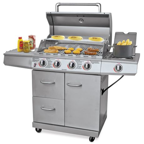 Backyard Grill Stainless Steel 4 Burner Gas Grill BBQ ...