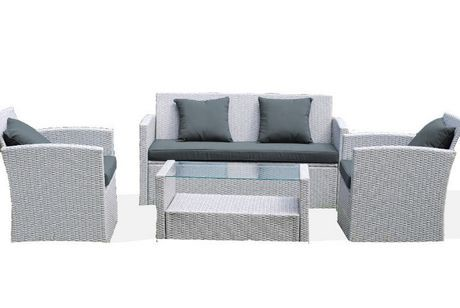 ensemble de conversation et si ges en osier diana de patio flare gris avec coussins gris fonc. Black Bedroom Furniture Sets. Home Design Ideas