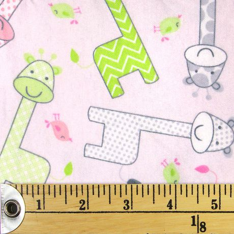 Fabric Creations Pink Baby Giraffe Cotton Flannel Fabric by The Metre - image 1 of 1
