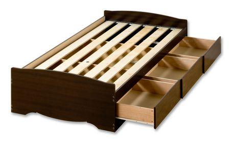 Prepac base de lit plateforme avec 3 tiroirs de rangement - Lit plateforme avec rangement ...