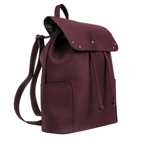 Maroon George PVC backpack with drawstring top