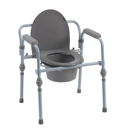 Drive Medical Folding Bedside Commode with Bucket and Splash Guard - image 1 of 4