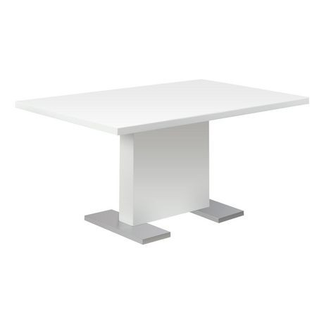 table de salle manger monarch specialties en blanc lustr. Black Bedroom Furniture Sets. Home Design Ideas