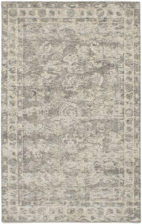 "Hand loomed Galleria Grey Silk Rug 5'0"" x 8'0"" - image 1 of 6"