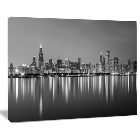 Design Art Chicago Skyline at Night Black And White Cityscape Canvas Art Print - image 1 of 1