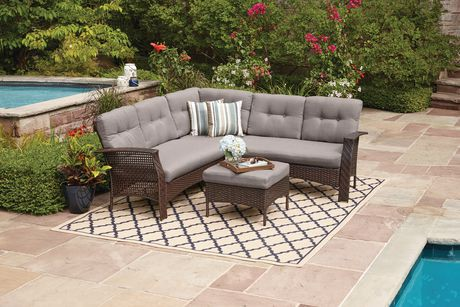 . hometrends Tuscany 4 Piece Sectional Set Grey   Walmart Canada