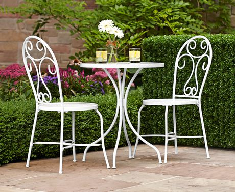 hometrends 3 piece steel bistro patio set. Black Bedroom Furniture Sets. Home Design Ideas