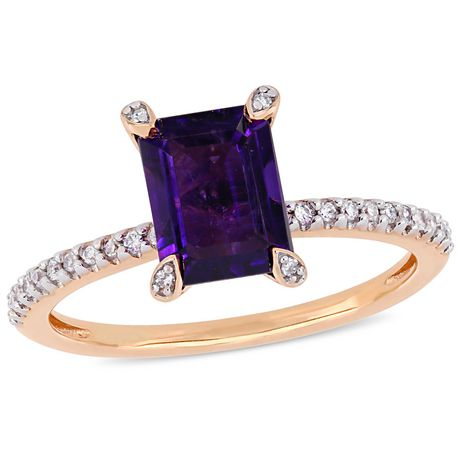 f379474fd09 Tangelo 1-1 2 Carat T.G.W. Amethyst and 1 10 Carat T.W. Diamond 10 K Rose Gold  Engagement Ring