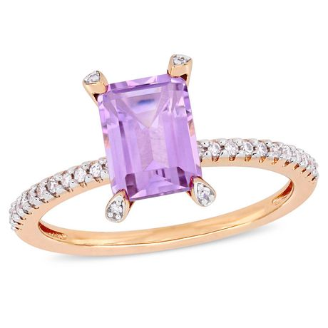 Rose Pink Silver 3 1//2 Ct TGW Ametrine Amethyst and Diamond Cocktail Ring