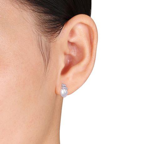 Boucles d'oreille Miabella avec perles cultivées d'eau douce 6,5-7mm et torsade accentuée de diamants en or blanc 14K - image 3 de 4