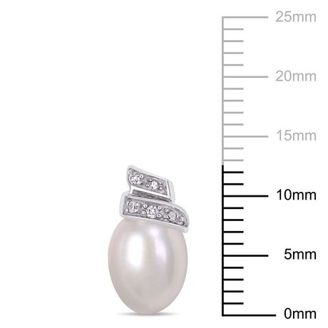Boucles d'oreille Miabella avec perles cultivées d'eau douce 6,5-7mm et torsade accentuée de diamants en or blanc 14K - image 2 de 4