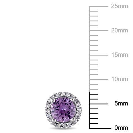 Boucles d'oreille auréoles Tangelo avec alexandrite synthétique 1-1/5 CT PBT et accents de diamants en or blanc 10K - image 2 de 4