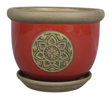 Hometrends 8 Quot Red Quatrefoil Ceramic Planter Walmart Canada