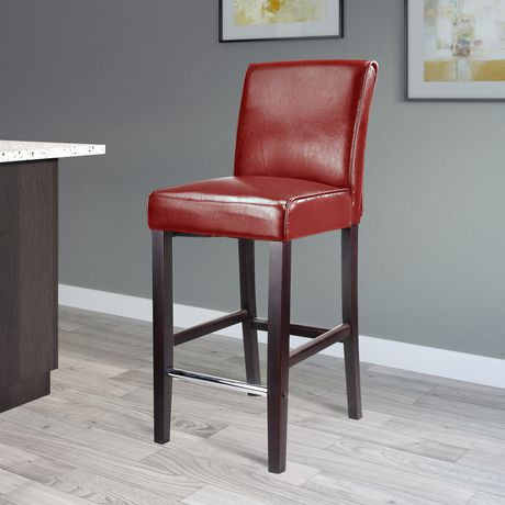 Corliving Antonio Red Bonded Leather Bar Height Barstool