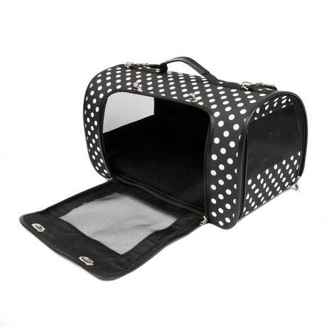 SimplyDog Sac de transport pour chiens en forme de voûte à motif de pois noirs et blancs - image 1 de 1