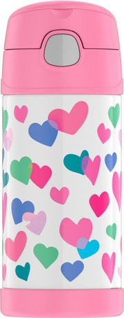 Genuine Thermos Brand Vacuum Insulated Hearts Funtainer Bottle Pink 12