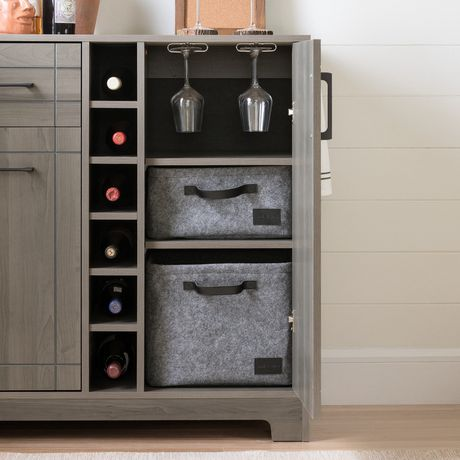 south shore meuble bar rangement pour bouteilles et coupes. Black Bedroom Furniture Sets. Home Design Ideas