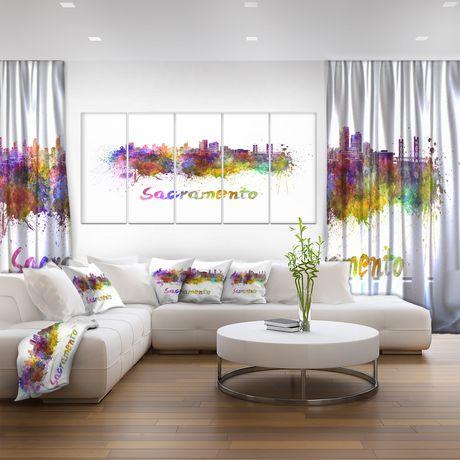 Design Art La Ligne D'Horizon De Sacramento Art Sur Toile - image 2 de 3