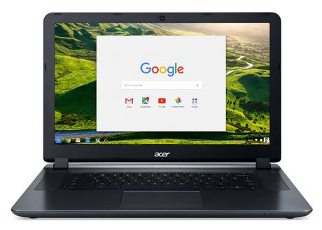 Black Chromebook laptop by Acer with home screen displaying a Google search