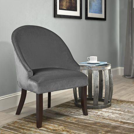 Corliving Antonio Grey Velvet Accent Chair Walmart Canada