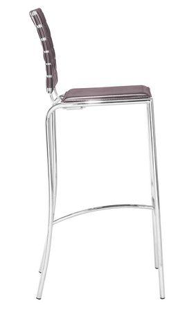 Chaise de bar 2 pièces Criss Cross de Zuo Modern en expresso - image 2 de 4