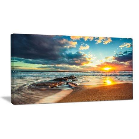 tableau sur toile imprim e design art plage moderne nuages sur le mer walmart canada. Black Bedroom Furniture Sets. Home Design Ideas