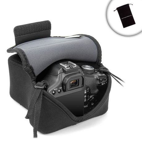 Usa Gear Dslr/Slr Camera Bag With Neoprene Protection, Holster Belt Loop And Accessory Storage Black