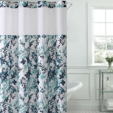hookless® brand 3-in-1 watercolour print shower curtain